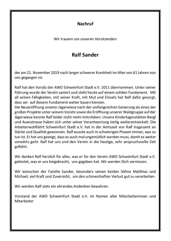 Nachruf Ralf Sander Vorstand verstorben AWO Schweinfurt